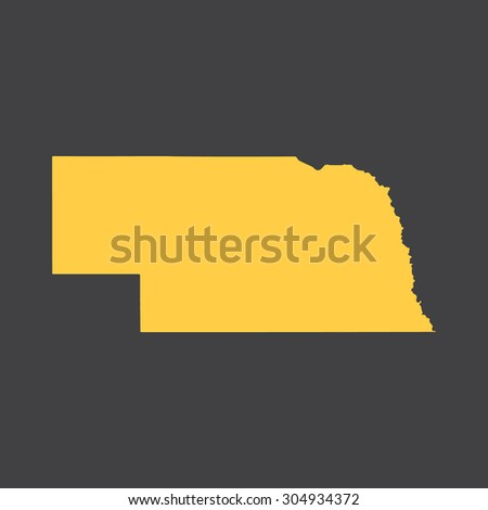 Nebraska state border,map. Vector EPS8 - stock vector