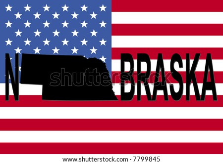 Nebraska text with map on American flag illustration