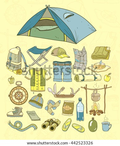 Necessary things in the journey. Set of vector illustrations.