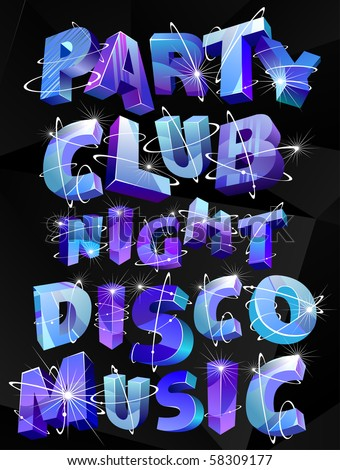 necessary words for the club posters - stock vector