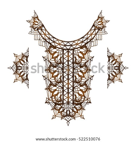 Neck decoration, necklace, isolated crocheted lace border with an openwork pattern. Vector illustration.