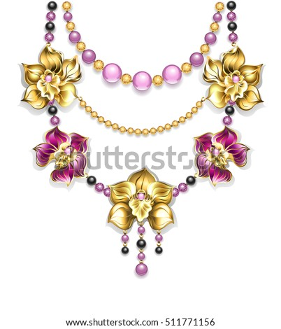 Necklace of pink, gold, black beads and gold orchids on a light background. Golden Orchid.