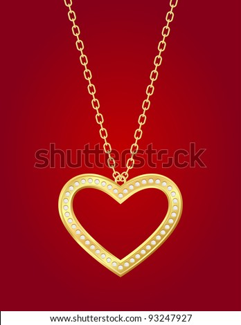 Necklace with golden heart and brilliants on a red background - stock vector