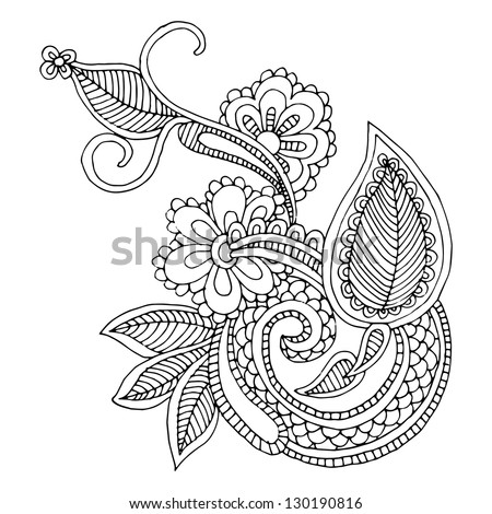 Neckline embroidery design- floral ornamented pattern. Hand draw line art ornate flower design - stock vector
