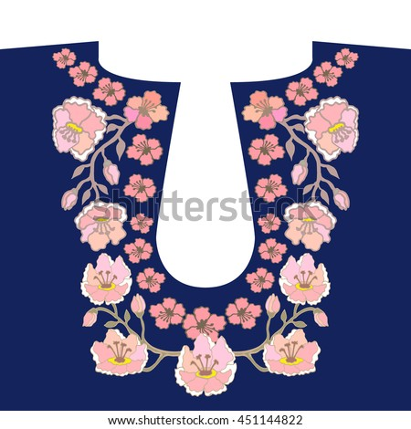 Neckline embroidery design. Hand drawn floral vector patterns. Folk art textile collection. Cherry flowers garland. - stock vector