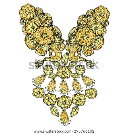 Neckline embroidery fashion - stock vector