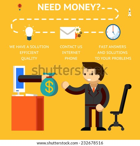 Need money concept, hand giving money, credits and loans on internet - stock vector