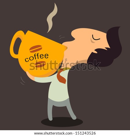 Need more coffee. Businessman drinking a lot of coffee at work.  - stock vector