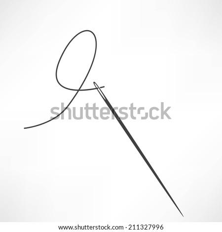 Needle and thread vector icon - stock vector