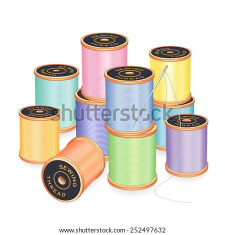 Needle and Threads.  Silver needle, 10 spools of thread in pastel colors isolated on white background for sewing, tailoring, embroidery, quilting, crafts, needlework, DIY projects. EPS8 compatible. - stock vector