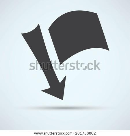 needle arrow with a flag - stock vector