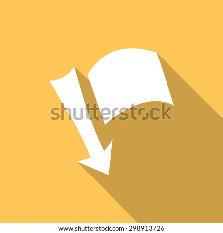 needle arrow with a flag with a long shadow - stock vector