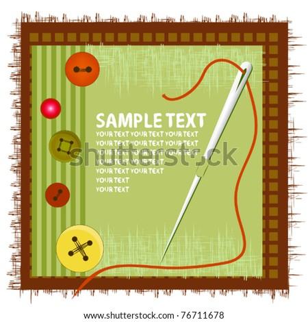 Needle, button, thread - stock vector