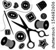 needle & buttons monochromatic seamless pattern - stock vector