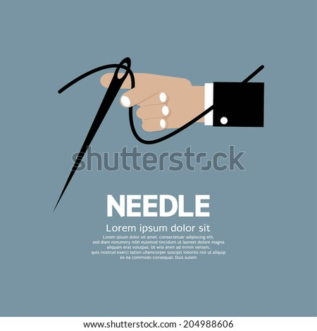 Needle In Hand Vector Illustration - stock vector