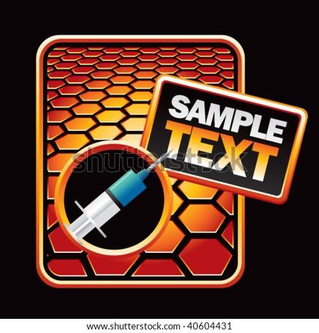 needle or syringe on orange hexagon advertisement - stock vector