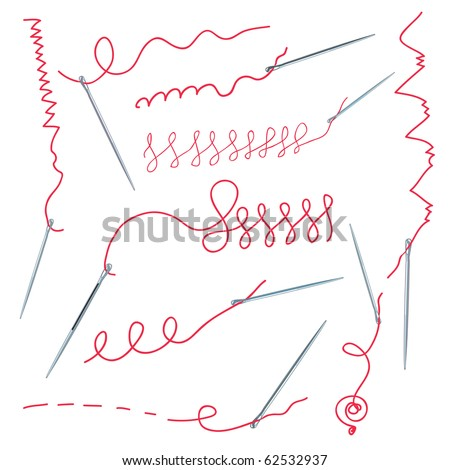 Needles and thread collection with seame - stock vector