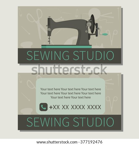 Needlework. Sewing machine. Cute design of business cards for sewing studio. Vector illustration - stock vector