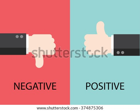 Negative and Positive feedback by hands. Flat design for business financial marketing banking concept cartoon illustration.