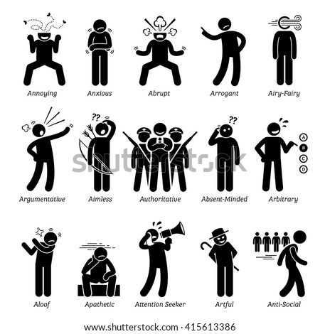 Negative Bad Personalities Character Traits. Stick Figures Man Icons . Starting with the Alphabet A. - stock vector
