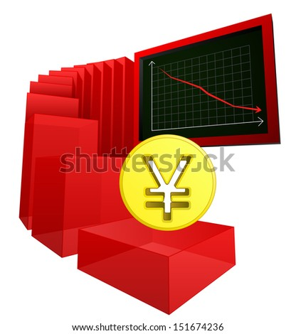 negative business banking results of yen or yuan vector illustration - stock vector