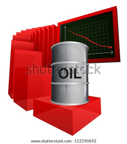 negative business graph of oil goods vector illustration - stock vector