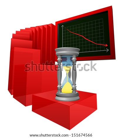negative business results while time is running vector illustration - stock vector