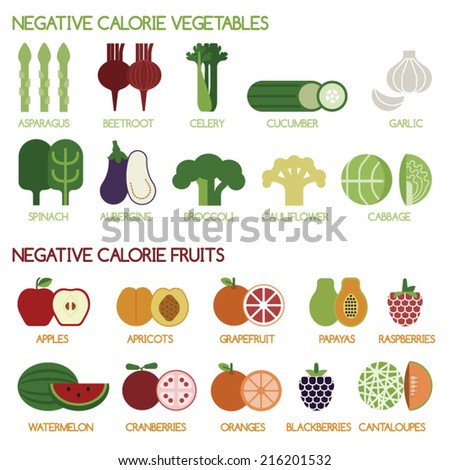 Negative calorie vegetables and fruits - stock vector