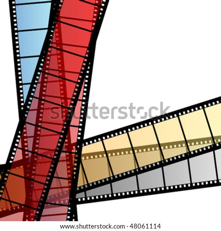 Negative film strips with different colors over white