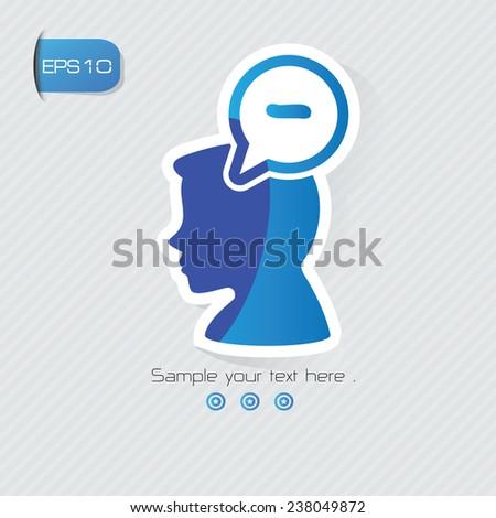 Negative symbol,sticker design,blue version,clean vector - stock vector