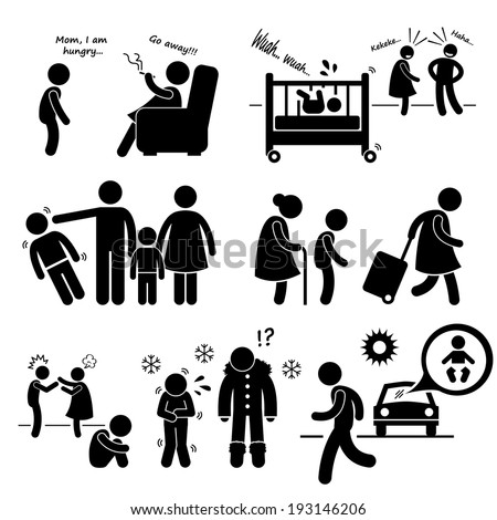 Neglected Child Negligence Abuse Stick Figure Pictogram Icon Cliparts - stock vector
