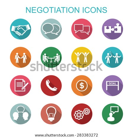 Negotiation icons, flat vector symbols - stock vector