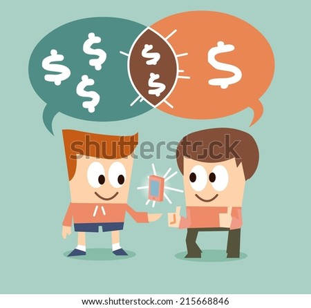Negotiation until the deal reached. Flat vector illustration - stock vector