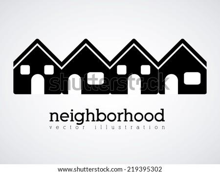 Neighborhood design over white background vector illustration - stock vector
