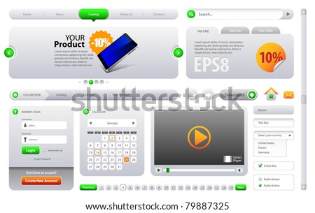 Neo Cool Gray and Green Website Design Elements: Buttons, Form, Slider, Scroll, Icons, Tab, Menu, Navigation Bar, Bread crumbs, Video player - stock vector