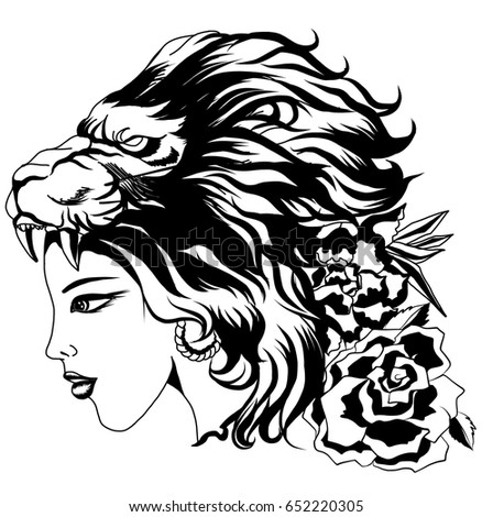 Neo traditional tattoo style the girl stock vector for Teschi da disegnare