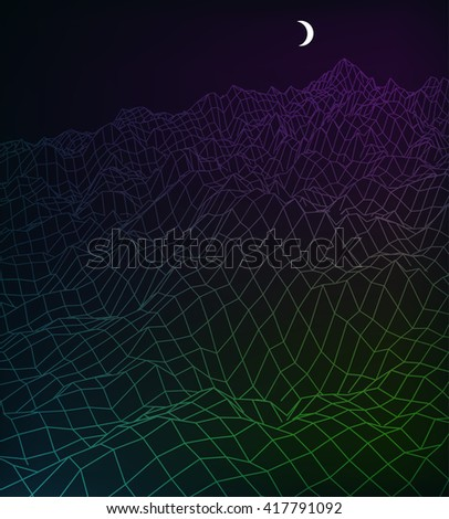 Neon abstract low-poly, polygonal rectangular landscape on a dark background for web, presentations, posters and prints. Vector editable illustration. Realistic 3D design vector template. - stock vector