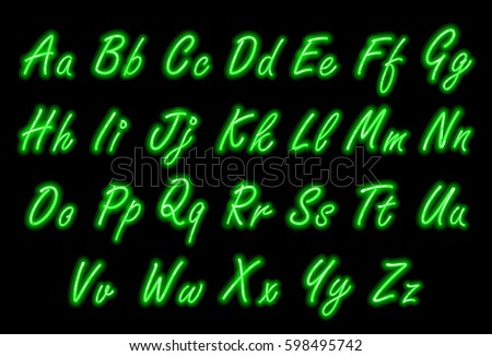 Neon Writing Stock Royalty Free & Vectors #0: stock vector neon alphabet font in green small caps