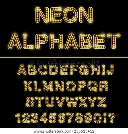 Neon Alphabet/font isolated on black background. Vector illustration. - stock vector