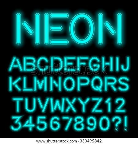 Neon Alphabet glowing letters, handcrafted. Vector eps10. - stock vector