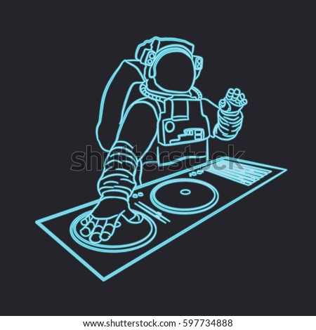 Neon Astronaut Dj Vector Illustration electronic Stock ...
