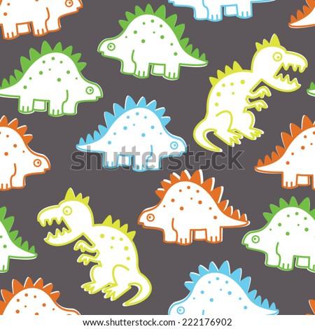 Neon Baby Dino Seamless Repeat Wallpaper - stock vector