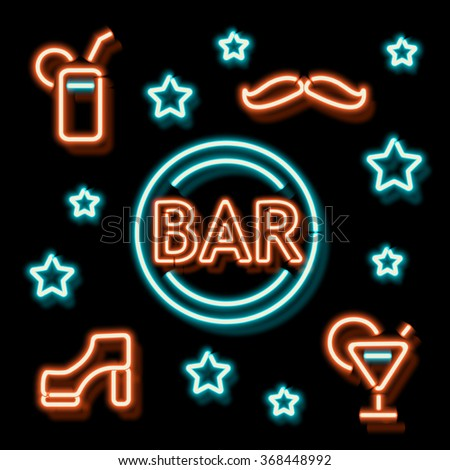 Neon Bar symbols. Retro label bar shoe, a mustache and a cocktail. Burning a pointer to a black wall in a club, bar or cafe. Design element for your ad, signs, posters, banners. Vector illustration - stock vector
