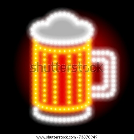 Neon beer sign. Vector illustration Eps 10. - stock vector