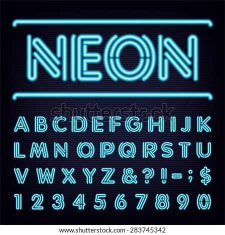Neon Blue Light Alphabet Vector Font. Ttype letters, numbers and punctuation marks. Blue neon tube bold letters on the dark background.
