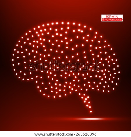 Neon brain. Vector illustration. Eps 10 - stock vector