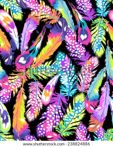 neon bright feather print ~ seamless background - stock vector