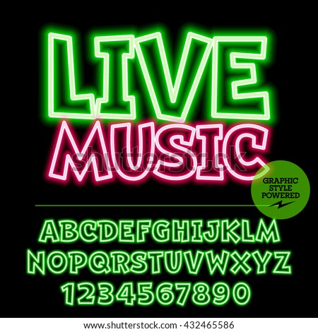 Neon bright set of alphabet letters, numbers and punctuation symbols. Vector light up colorful emblem with text Live music - stock vector