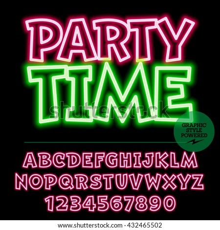 Neon bright set of alphabet letters, numbers and punctuation symbols. Vector light up colorful icon with text Party time - stock vector