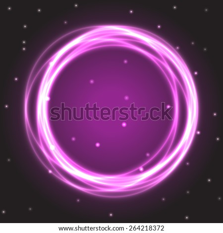 Neon burning purple circle on black space background with sparkling stars. Vector illustration, eps10 - stock vector